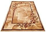 Tapis de Salon MIROIR Motif Fleuri Beige Clair Design Moderne Différentes Dimensions S-XXL (240 cm x 330 cm) (180 cm ...