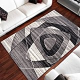 Tapis De Salon Moderne Design Triangles Ovales Gris Foncé Différentes Dimensions S-XXXL (120 x 170 cm)