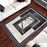 Tapis De Salon Moderne Formes En Mouvement Encadrées Gris Foncé Pas Cher Différentes Dimensions S-XXXL (120x170 cm)