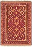 Tapis de salon moquette Oriental Carpet persan Design KELIM FRAME RUG 80% Wolle 20% Jute 160x230 cm rectangle Rouge | ...