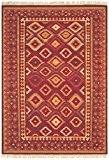 Tapis de salon moquette Oriental Carpet persan Design KELIM FRAME RUG 80% Wolle 20% Jute 160x230 cm rectangle Rouge   ...