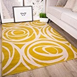 Tapis de salon traditionnel Milan motif floral moderne - roses jaunes ocres grises beiges 120cm x 170cm