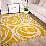 Tapis de salon traditionnel Milan motif floral moderne - roses jaunes ocres grises beiges 160cm x 230cm