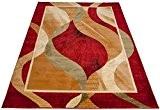 Tapis de Salon VASES Cachées en Mouvement Rouge Beige Moderne Différentes Dimensions S-XXL (60 cm x 100 cm) (280 cm ...