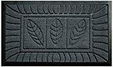 Tapis Déco Tapis d'Entrée Feuilles Polypropylène/Cao Gris 75 x 45 cm