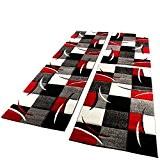 Tapis Descente De Lit Avec Motifs À Carreaux Rouge Gris Noir Blanc 3 Pcs , Dimension:2x 80x150 / 1x 80x300 ...