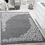 Tapis Design Avec Fil Brillant Motifs Classique Floral Gris Blanc Anthracite , Dimension:80x300 cm