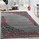 Tapis Design Avec Motif floral Fil Scintillant Rouge Gris Anthracite Chiné, Dimension:80x150 cm