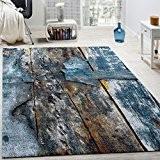 Tapis Design Coloré Bois Effet Relief En Turquoise Jaune Gris Chiné, Dimension:200x290 cm