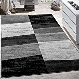 Tapis Design Moderne Abstrait Effet Carreaux Poils Ras Chiné En Gris, Dimension:200x280 cm