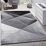 Tapis Design Moderne Motifs Géométriques Poils Ras Gris Noir Blanc Chiné, Dimension:200x280 cm