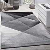 Tapis Design Moderne Motifs Géométriques Poils Ras Gris Noir Blanc Chiné, Dimension:120x170 cm