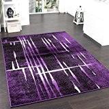 Tapis Design Moderne Poil Court Trendy Violet Crème Moucheté, Dimension:60x100 cm
