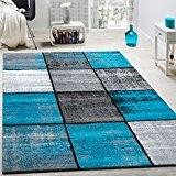 Tapis Design Moderne Poils Ras Carreaux Spécial Chiné Gris Noir Turquoise, Dimension:200x290 cm