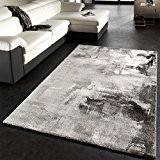 Tapis Design Moderne Toile Splash Gris Noir Blanc Marbré, Dimension:80x150 cm
