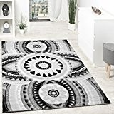 Tapis Design Poils Courts Fil Brillant Abstrait Ornements Gris Anthracite Blanc, Dimension:120x160 cm