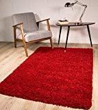 """Tapis Doux Épais Shaggy Rouge Luxueux 9 Tailles Disponibles 120cm (3ft11"""") Cercle"""