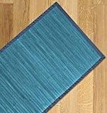 Tapis en bambou couleur unie passsatoia entrée cuisine multi-usages 55x 180cm bleu clair