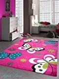 Tapis enfants de jeu de tapis Papillon Design Rose Turquoise Vert Gris Crème Größe 80x150 cm