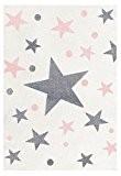 Tapis enfants Happy Rugs ÉTOILES couleur crème/gris-rose 80x150 cm