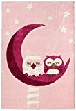 Tapis enfants Happy Rugs LA CHOUETTE DORMIR en rose 120x180cm