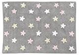 Tapis lavable étoiles gris-rose 100% coton pour chambre d'enfant - Lorena Canals - C-ST-P
