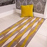Tapis Milan traditionnel de salon motifs géométriques losanges ocre jaune moutarde gris beige 60cm x 240cm