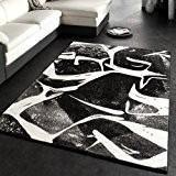 Tapis Moderne Branché Poils Courts Noir Gris Anthracite Blanc, Dimension:70x140 cm