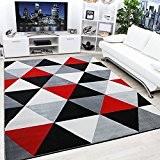 Tapis moderne contemporain Diamant Noir, Gris, crème et rouge très Funky Extra Large, 120x170cm