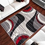 Tapis Moderne Design Cadre Gris Rouge Differentes Dimensions (80 x 150 cm)