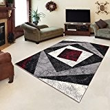 Tapis Moderne Design Carré Beige Rouge Differentes Dimensions (200 x 300 cm)