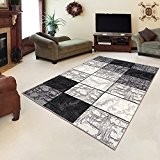 Tapis Moderne Design Carré Gris Differentes Dimensions (140 x 200 cm)