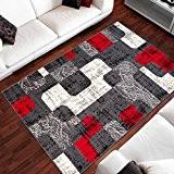 Tapis Moderne Design Des Pierres Gris Rouge Differentes Dimensions (130 x 190 cm)