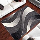 Tapis Moderne Design Vagues Gris Differentes Dimensions (140 x 200 cm)
