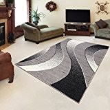 Tapis Moderne Design Vagues Gris Differentes Dimensions (80 x 150 cm)