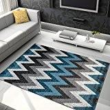 Tapis Moderne Motif GEOMETRIQUE Gris Bleu Différentes Dimensions S-XXL (200 x 290 cm)