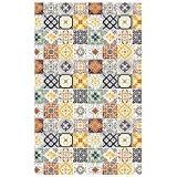 Tapis Motifs Carreaux De Ciment Jaune 100x60cm Toodoo - Monbeautapis - Polyester extra doux