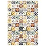 Tapis Motifs Carreaux De Ciment Jaune 60x90cm Toodoo - Monbeautapis - Polyester extra doux
