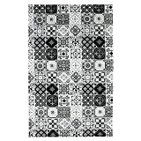 Tapis Motifs Carreaux De Ciment Noir 100x60cm Toodoo - Monbeautapis - Polyester extra doux
