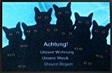 Tapis paillasson motif chouette cat dog chien ou chat en forme de chouette, turquoise