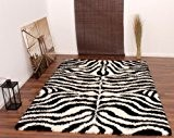 Tapis Poils Hauts Shaggy Motif Zèbre Noir Blanc, Dimension:160x230 cm