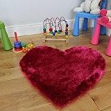 Tapis pour Chambre Fille Coeur Rose Vif Poils Shaggy 75 x 75cm