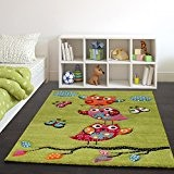 Tapis Pour Enfant Adorable Chouette En Vert Orange Rose, Dimension:Ø 120 cm Rond