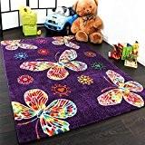 Tapis Pour Enfant Moderne Design Avec Papillons En Purpre Violet Qualité Top, Dimension:120x170 cm