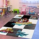 Tapis pour enfants pour chambre d'enfant, motif pirate, gris, noir, crème, 80x150 cm