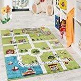 Tapis Pour Enfants Tapis De Jeu Ville Port Tapis Route Ville Route Gris Vert, Dimension:230x320 cm