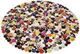 Tapis rond design en cuir multicolor 150x150