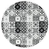Tapis Rond Motifs Carreaux De Ciment Noir Diam. 90cm Toodoo - Monbeautapis - Polyester extra doux