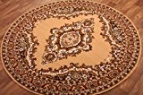 Tapis Rond Traditionnel à Médaillon Marron & Beige 120cm