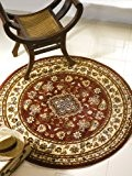 Tapis rond traditionnel de qualité Rouge bordeaux 133 cm
